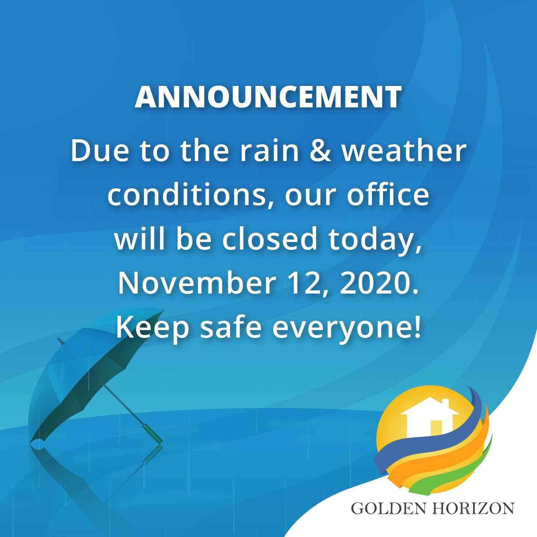 Golden Horizon November 12, 2020 Advisory